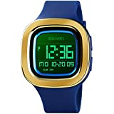 Men's Digital Watch Outdoor Sports Watches for Men Square Multifunctional Chronograph Blue Electronic Watches 50m Waterproof Stopwatch