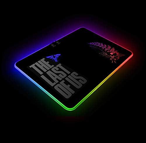 The Last of us RGB Gaming Mouse Pad Colorful LED Atmosphere Light Hard Surface with Personalized Luminous Pattern Gamer Gifts W14 X H10 (350 X 250 mm)
