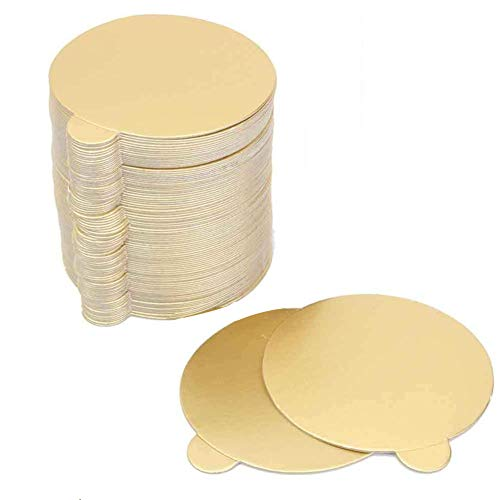 Witch's Magic House 100Pcs / Set Round Mousse Cake Boards Oro Papel...