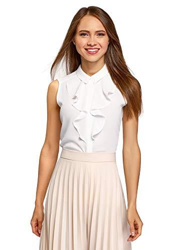 oodji Collection Damen Ärmellose Bluse aus Fließendem Stoff mit Volants, Weiß, DE 42 / EU 44 / XL