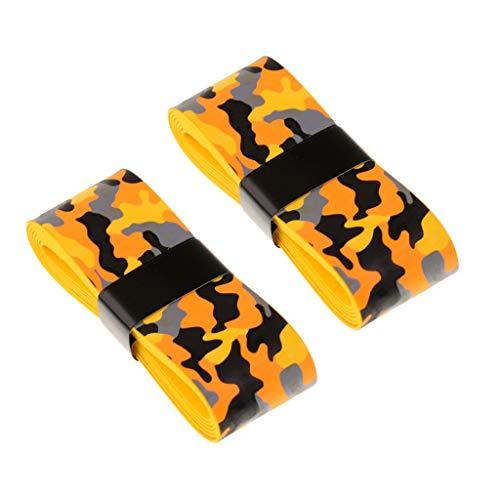 Inzopo 2 cintas antideslizantes para raquetas de tenis, bádminton/squash, mango de bicicleta, camuflaje amarillo y naranja