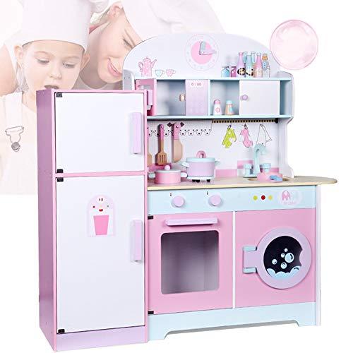 Basinnes Kinderküche Spielküche Aus Holz Kinderspielküche Küche Holzküche Spielzeugküche Mit Kühlschrank, Waschmaschine, Mikrowelle