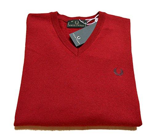 Maglia Uomo Men Fred Perry Made In Italy maglione Lana 100% Wool scollo V neck fragola (48)