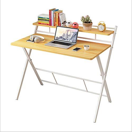 GSKJ Plegable Cuadro De Estudio,Casa Escritorio De Computadora Estación De Trabajo De Mesa,2-Nivel Madera Oficina Desk con Marco De Metal,Fácil Montaje-Un (41x20x37inch)