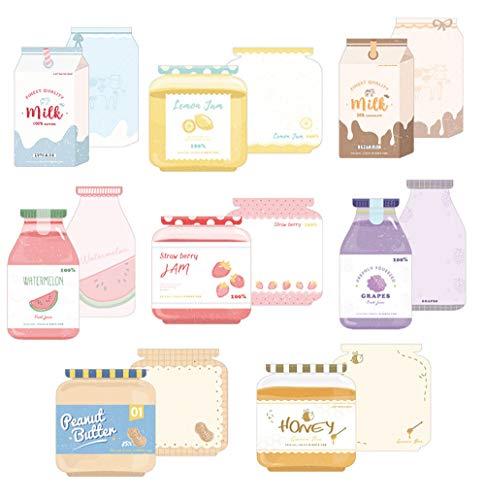 moin moin メモ帳 メモ ノート 手紙 ミニ レター | 牛乳パック 型 ジュース ミルク ジャム | 1種につき 30枚 | 8種セット (牛乳/スイカジュース/レモンジャム/はちみつ/イチゴジャム/ピーナッツバター/ぶどうジュース/コーヒー牛乳