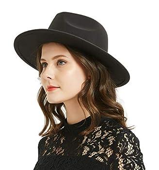 Women or Men Woolen Felt Fedora Hat Vintage Widet Brim Crushable Hat Belt Jazz Black