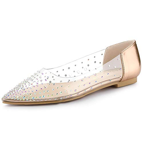 Allegra K Zapatillas De Ballet Transparentes con Diamantes De Imitación Dedo del Pie Puntiagudo TPU para Mujer Dorado Champagne 38