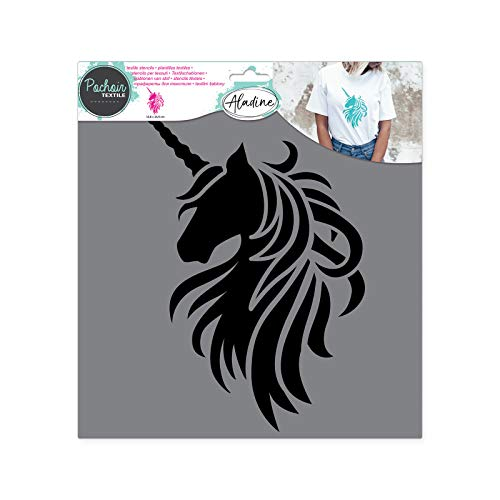 Aladine 81016 Textil-Schablone Einhorn