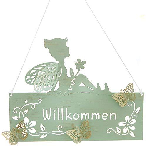N / A Metallschild Elfe Willkommen Schild Metall Aufhänger 26 cm grün Gold Türschild