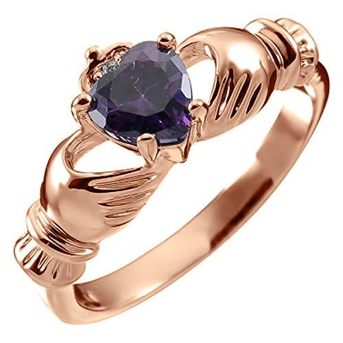 GWG Jewellery Anillos Mujer Regalo Anillo de Claddagh, Chapado en Oro Rosa 18K...