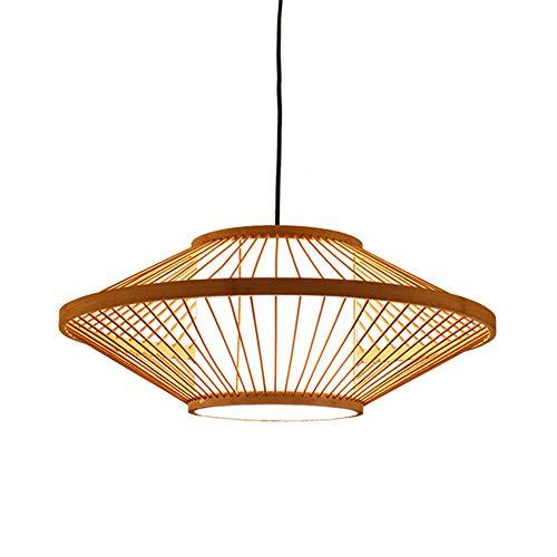 Creativa de la lámpara Colgante Hecho a Mano Rota Pantalla de bambú Tropical Lámparas de Techo de Mimbre del Dormitorio de Bricolaje Restaurante Sala cuelga Luces E27 Base,Altura Ajustable,Natural