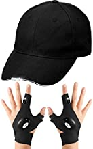 LED Baseball Cap with LED Flashlight Gloves Outdoor Fishing Gloves, Breathable Snapback Hats for Repairing and Working in Darkness Places, Outdoor Jogging, Fishing, Camping, Hiking, Hip Hop Party
