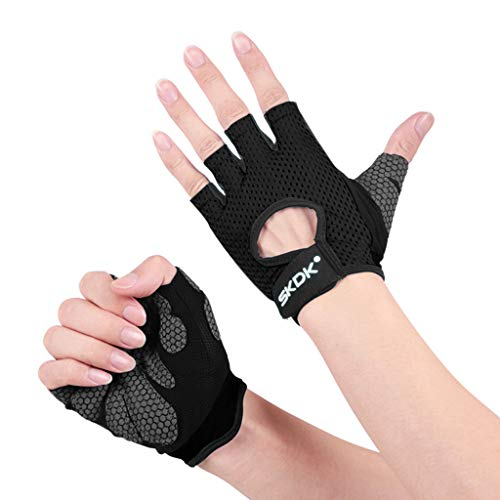 Jinjin Unisex Fitness Weightlifting Gloves for Training Gloves for Training Gloves with Wrist Support for Fitness Exercise Gloves Protective Body Equipment (S, Black)