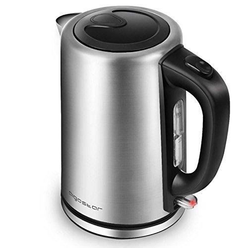 Aigostar Rob - Wasserkocher Edelstahl 1.7 Liter 2200 Watt, Elektrischer Wasserkessel Schnellkoch, Wasserstandsanzeige, Automatisch Abschaltung, BPA frei, Silber