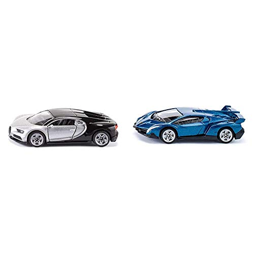 Siku 1508, Bugatti Chiron Sportwagen, Spielzeugauto für Kinder, Öffnende Türen & 1485, Lamborghini Veneno, Metal/Kunststoff, Spielzeugauto für Kinder, Dunkelgrau, Bereifung aus Gummi