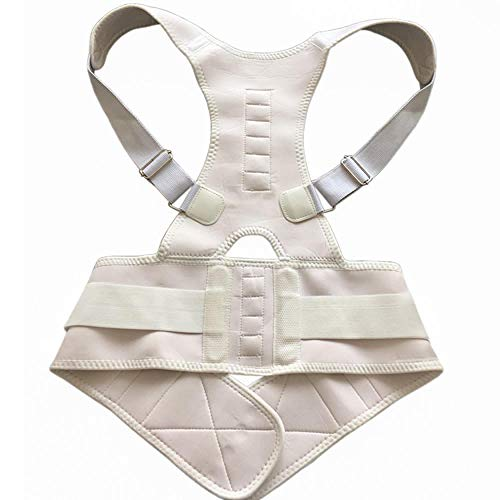 ANGOU Magnetic Belt for Back Shoulder Band Belt Support Brace Scoliosis Posture Corrector Belt Corset Plus Size Pain Relief Men-White_S