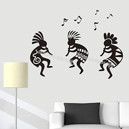 Adesivo Murale Musica Kokli Tribal Etnic Dancing Carnival Celebrate Art Vinyl Decal Home Decor Living Party Poster 75X56Cm