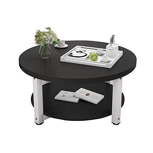 2 Tier Holz Couchtisch Kleine Wohnung Esstisch Bürotisch Wohnzimmer Beistelltisch Kleiner Runder Tisch Zwei Größen, B-T, g, 50×45cm