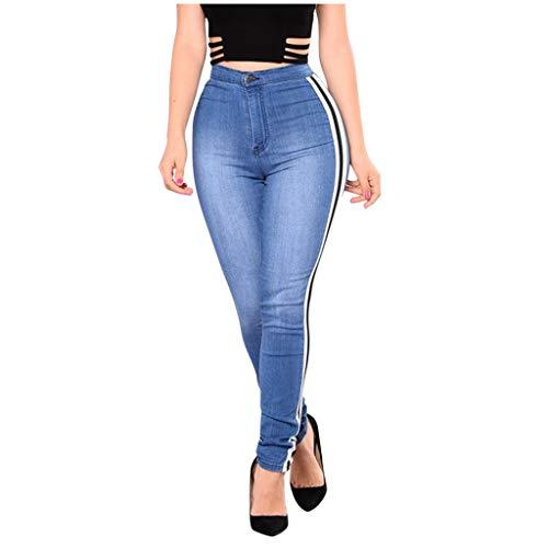 Xmiral Hosen Damen Jeans Hohe Taille Strecken Slim Farbe Patchwork Bleistift Jeans Denim Herbst Röhrenhose Bleistifthosen(Blau 1,XL)