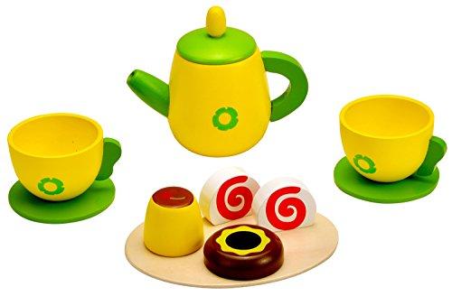 Idena 4100108 - Kleine Küchenmeister Kaffee Set aus Holz, für Spielküche und Kaufmannsladen, ab 3 Jahre, ca. 24 x 18 x 6 cm