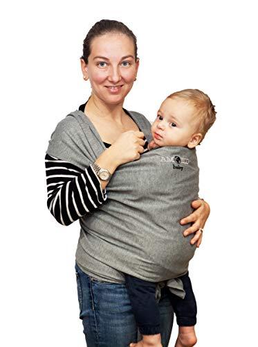 Fascia Porta Bambino - Bebè - per Neonato da 0 Mesi a 3 Anni - da 2 a 15 Kg - Nuova Misura - Cotone Ecologico Traspirante - Elastica Baby Wrap Sling