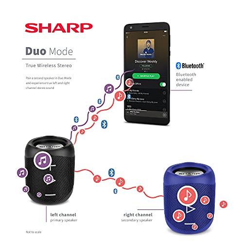 Sharp GX-BT180 (BL) Stereo-Bluetooth-Lautsprecher - kräftiger Bass - hochdynamischer Klangbereich / 10 Stunden Spielzeit /Staub-Spritzwassergeschütz/ Mikrofon für Telefonate, Google & Siri - Blau