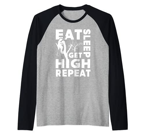 Comer sueo obtener alta repeticin divertido regalo arborista Camiseta Manga Raglan