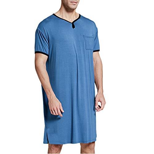 Camisón de algodón para Hombre Largo Pijama de Manga Corta Cuello en V cómodo Suave Holgado de Ajuste de Verano Ropa de Dormir para el Hospital en casa (Azul, XL)