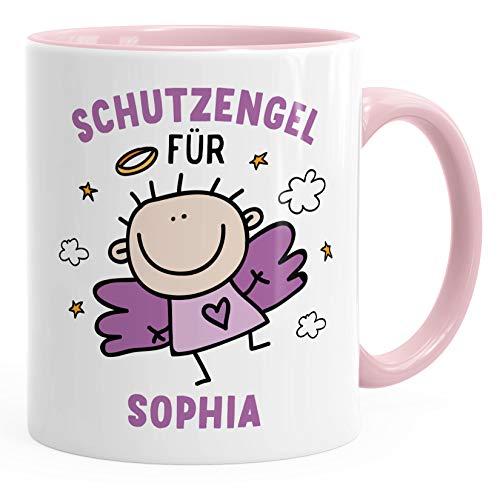personalisierte Kaffeetasse Schutzengel mit Name Namenstasse personalisierte Geschenke Glücksbringer SpecialMe® inner-rosa Keramik-Tasse