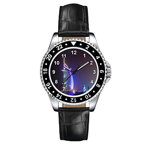 Timest - Dubai Hotel Burj Al Arab - Women's Wrist Watch with Leather Strap in Black Round Analog Quartz CSE016LB