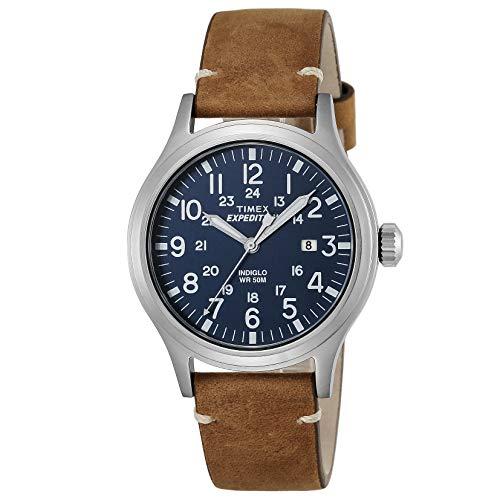 Timex Expedition - Reloj análogico de cuarzo con correa de cuero para hombre, Marrón (Marrón/Azul)