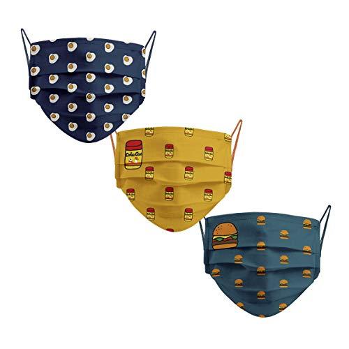 Cencibel Smart Casual Mascarillas Infantiles Reutizables Huevos Fritos, Hamburguesas y COLA CAO de Callate La Boca Pack de 3