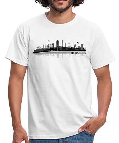 Duisburg Skyline Stadt Silhouette Männer T-Shirt, XL, Weiß