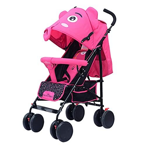 ZXJ Cochecito De Bebé Ligero Viaje A Niño Pequeño Respaldo Ajustable Plegable Fácil La Posición Acostado con Accesorios (Color : Pink)