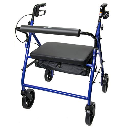 McKesson Bariatric Rollator Folding Steel 400 lbs. 34 to 39 inch Handle Height 146-10216BL-1