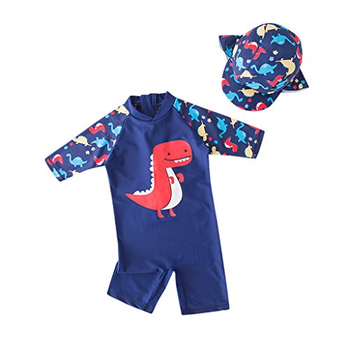 WOCACHI Toddler Little Boys Swimsuits, Children Kids Boys Girls Cartoon Dinosaur One Piece Swimsuit Hat Swimwear Sets Newborn Mom Daughter Son Coverall Layette Sets Best Gift Multi Adorable Outfits