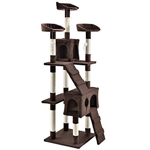 XXL Kratzbaum Amy braun – Katzenbaum mit Höhlen, Liegeflächen, Leitern & Sisal-Stämmen – Stabiler Kletterbaum für Katzen 170 cm hoch