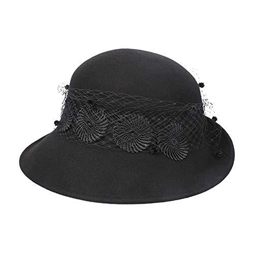 Confortable Sombreros de bombín para Las Mujeres Vintage Lana de Fieltro Crimping Ribbon Lace Floppy Hats Moda (Color : Negro)