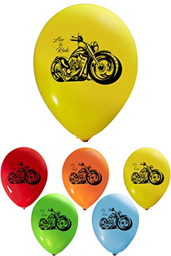 """Party Zone Motorcycle Bike Racer Live to Ride Balloons – 12"""" 2 Sided Print (16 count) for Birthday Parties or any occasion – Air Helium May be Used for Party Décor Decoration"""