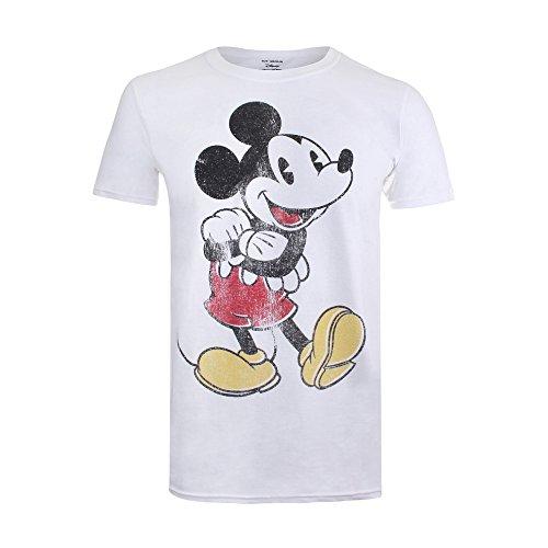 Disney Herren Vintage Mickey T-Shirt, weiß, M