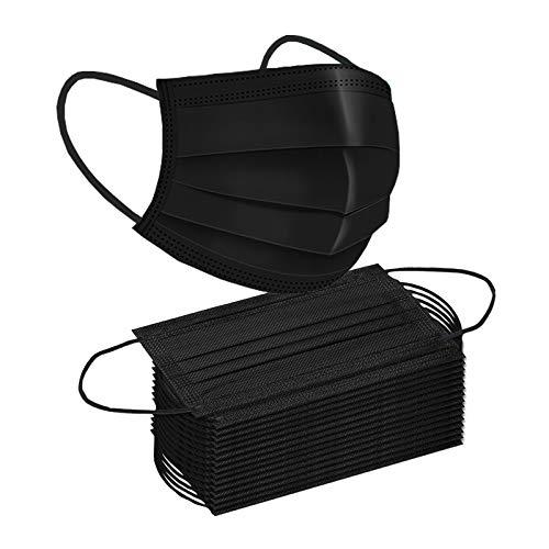 50 PCS Black Disposable Face Masks Safety Soft Breathable Elastic Ear Loop Face Masks for Women and Men Daily Comfy mask(50, Black)…
