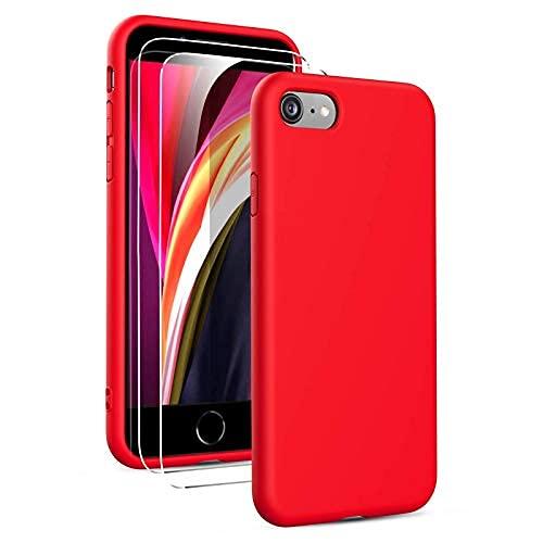 Oududianzi - Coque Compatible avec iPhone Se 2020/7/ 8 avec 2 Pièces Protecteur D'écran en Verre Trempé, Housse Silicone Liquide Souple Coque en Caoutchouc Antichoc Ultra-Mince de Couleur Pure- Rouge