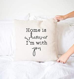 Wini2342ckey Home is Wherever I'm with You Pillow, Decorative Throw Pillow Cover, Farmhouse Decor, Home Decor, Neutral, Wedding, Shower