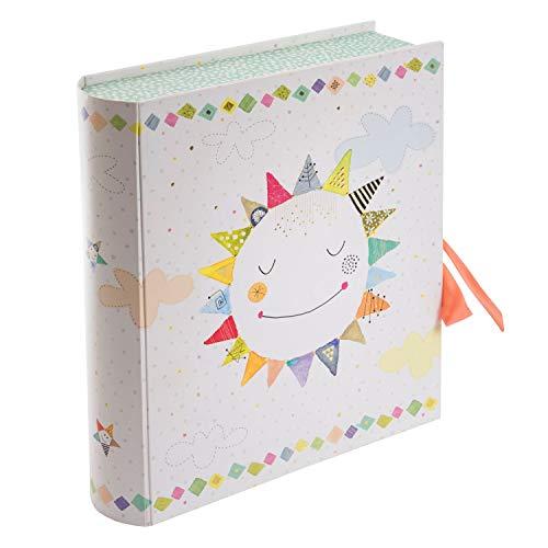 Goldbuch 85 462 - Babysammelbox Happy Sun, Aufbewahrungsbox mit 3 Einschüben, liebevoll gestaltete Babybox mit Schleife, Sammelbox mit Tasche, neutrale Baby Erinnerungsbox zur Geburt