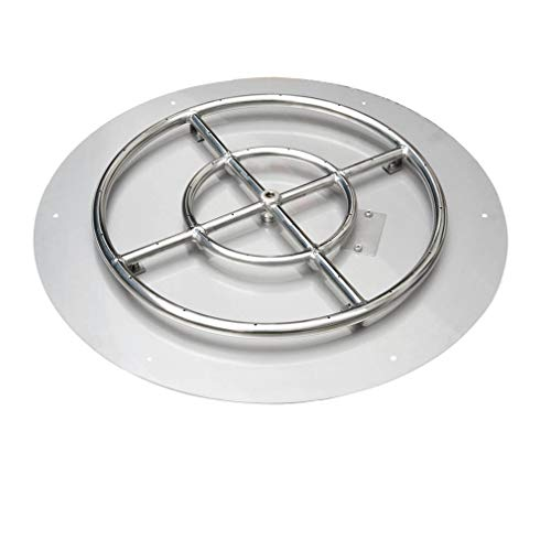Stanbroil Stainless Steel 30' Round Flat Fire Pit Pan w/24 Fire Burner Ring Installed, BTU 296,000 Max