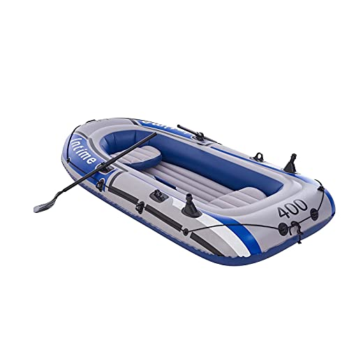 Miaaim 2 3 4 People Inflatable Boats with 1 Foot Pump, 2 Paddle, 1 Boats Rope, Fishing Boats Kayak for Adults and Kids Wear-Resistant (L-90.9 in)