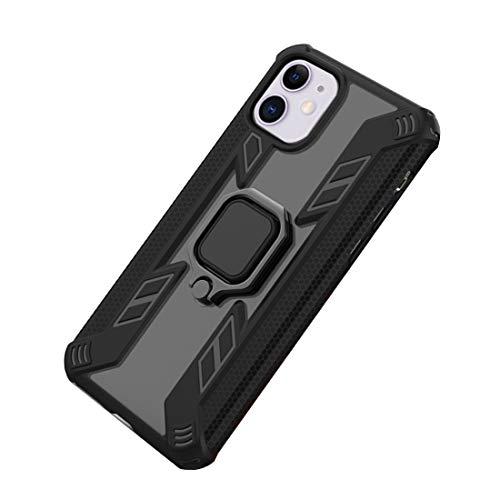 Funda iPhone 11 Pro MAX Cover Duro Transparente PC y Silicona Suave Bordes Case Robusto con Anillo Metálico Sujeción Soporte Carcasa para iPhone 11/11 Pro (iPhone 11, Negro)