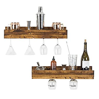 del Hutson Designs - Smuxe Stemware Wine Racks (Set of 2), USA Handmade, Pine Wood (5H x 24W x 6D, Walnut)