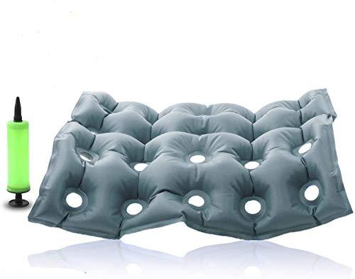 Premium Air Inflatable Seat Cushion - Comfortable Chair Cushion for Wheel Chair - Ideal for Prolonged Sitting - Ideal Seat Cushion for Daily Use (Gray)