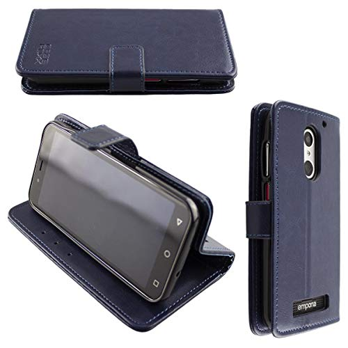 caseroxx Handy Hülle Tasche kompatibel mit Emporia Smart 4 Bookstyle-Hülle Wallet Hülle in blau